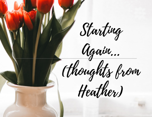 When It is Time to Start Again…(thoughts from Heather)